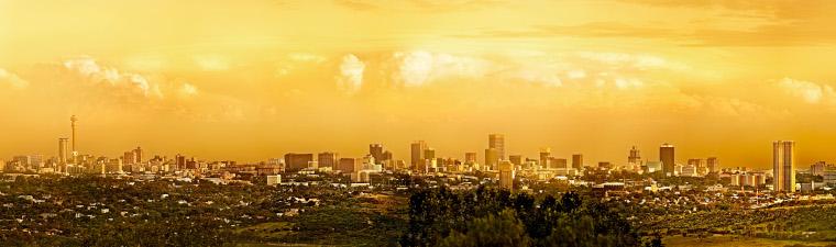 Vue panoramique de Johannesburg en voyage en Afrique du Sud